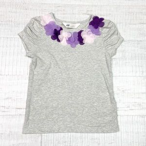 H&M size 2-4 floral gray tee shirt